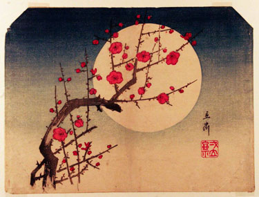 Red Plum and Moonlight, woodblock print by Utagawa Hiroshige, 1797-1858
